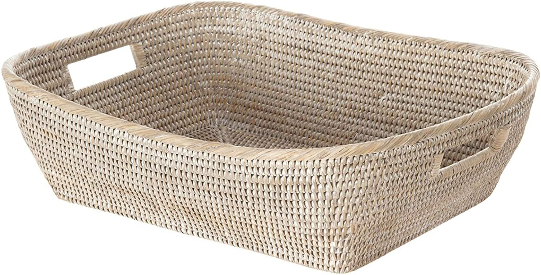 La Jolla Oblong Rattan Storage & Shelf Basket, White Wash
