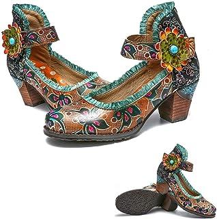 b35d3951b6dbef Gracosy Escarpins Talons Femmes, Chaussures Ville en Cuir Mocassins à  Talons Hauts Confortables Mary Janes
