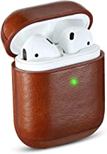 Airpods Case Cover, MAPUCE Airpod Cases Leather Compatible for Apple Airpods 2&1 Case Air Pod Case Protective [Front LED Visible][Shockproof][Drop-Proof][Dust-Proof](Brown)