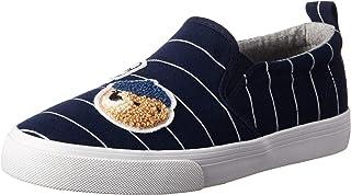 POLO RALPH LAUREN Kids Girls' Carlee Twin Gore Sneaker, Navy/White Stripe, M055 M US Little Kid
