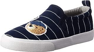 POLO RALPH LAUREN Kids Girls' Carlee Twin Gore Sneaker, Navy/White Stripe, M015 M US Little Kid