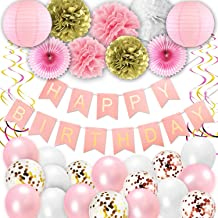Birthday Decorations, Pink and Gold Happy Birthday Party Decorations Supplies for Princess Women Girl Birthday Banner, Paper Fans, Pom Poms, Hanging Swirls, Paper Garland for 1 Birthday Decorations