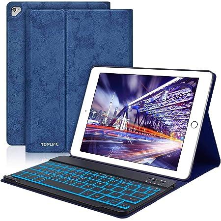Funda con Teclado iPad 9.7, Funda iPad 2018 con Teclado de 7 Colores Retroiluminado(Incluye Letra Ñ) para iPad 2018/iPad 2017/iPad Pro 9.7/iPad Air ...