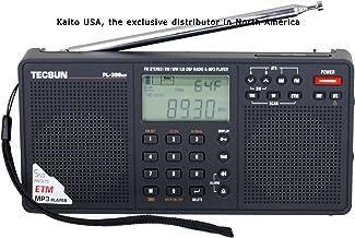 TECSUN PL-398MP Radio Digital Receptor de Onda Corta portátil FM estéreo SW MW LW DSP Reloj de Alarma Mundial Radio y Reproductor de MP3 y Toma de Corriente y con Pilas y Altavoces Dobles Negro