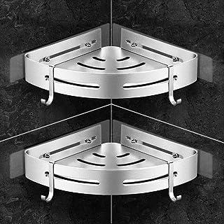 Orimade Estanteria Ducha para Esquina con Ganchos Cesto de Ducha Adhesivo Organizador de Baño, sin Taladros Aluminio - 2 Piezas