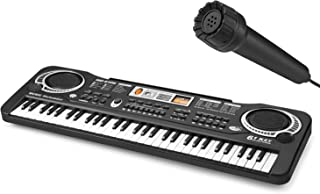 VicJoye 61 Key Piano Keyboard with Microphone Portable Kids Piano Keyboard Beginner Electronic Music Keyboard Piano Teachi...