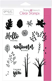 Gina K. Designs for Therm O Web StampnStencil, Autumn Wishes, Clear Stamp Set
