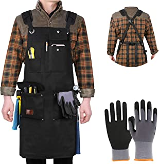 Aeegulle Work Apron, Heavy Duty Waxed Canvas Tool Apron (With work gloves), 6 Pockets, Thick shoulder pad, Quick Release Buckle, Cross-Back Straps Adjustable M to XXL, Apron for Men & Women(black)