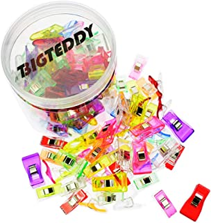 BIGTEDDY - 100pcs 2 Sizes Multipurpose Sewing Clips for Quilting and Binding Hem Making w/Case, Assorted Colors