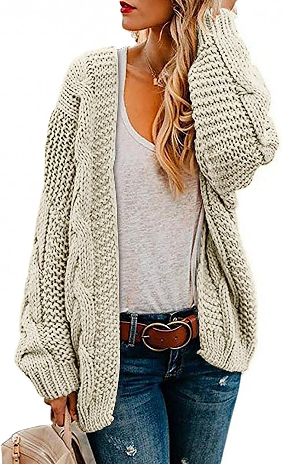 Women's Long Sleeve Cable Knit Sweater Open Front Cardigan Loose Outerwear