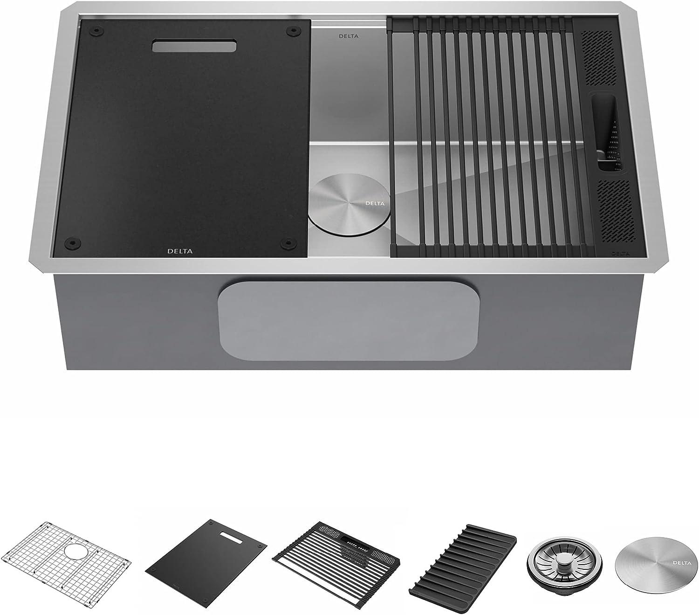 DELTA Oakland Mall Rivet 30-Inch Workstation Popularity Kitchen Sink Ga Undermount16