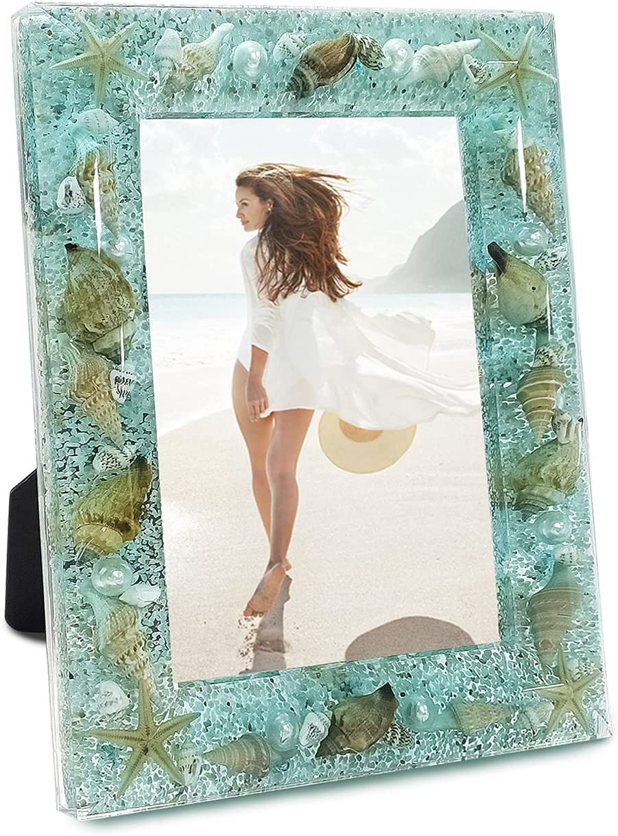 FONMY Picture Frames 5x7 Seascape Beach Ocean Acrylic Frame for Wall Decor and Tabletop Display Worth Memorial Gifts Picture Frame Blue Ocean Seasell Photo Frame as Home Decor.