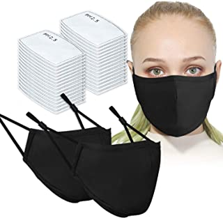 Face Mask Adult Size Unisex 2 Pieces Washable Reusable with Filter Pocket and 30 Pieces Protective PM2.5 Carbon Filter Pad...
