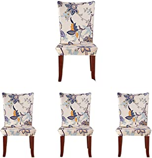 Best SoulFeel 4 x Soft Spandex Fit Stretch Short Dining Room Chair Covers with Printed Pattern, Banquet Chair Seat Protector Slipcover for Home Party Hotel Wedding Ceremony (Style 26) Review