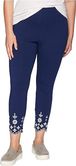 Plus Size Embroidered Hem Cotton Skimmer Leggings