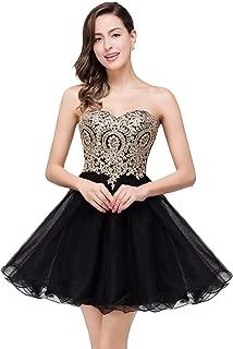 Women's Lace Applique Beaded A Line Short Bridesmaid Prom Cocktail Dress