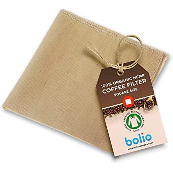 Organic Hemp Cone Coffee Filter Reusable and Great for Making Smooth Natural Tasting Pour Over Coffee Eco-Friendly Bacteria Resistant Material by Bolio (1, Square)