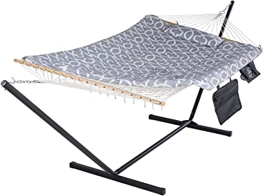 SUNCREAT Cotton Rope Hammock for Two People with Hardwood Spreader Bar, Quilted Fabric Pad & Detachable Pillow, Extra Lar