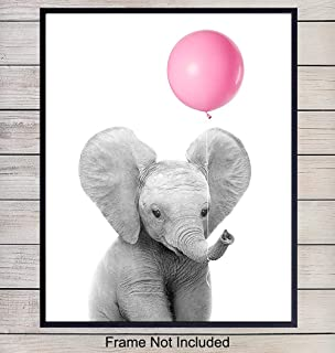 Baby Room and Nursery Decor Art Print, Wall Art Poster - Unique Home Decoration for Girls, Boys or Kids Bedroom - A Great Inexpensive Shower Gift, 8x10 Photo Unframed - Elephant with Balloon