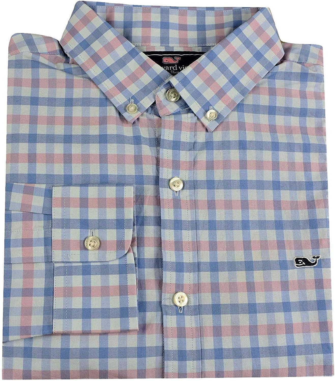 Vineyard Vines Men's Slim Fit Whale Shirt Button Down Dress Shirt (X-Small, Bahama Breeze Check)