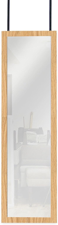 Mirredek Over The Door Wall Mounted Full Length Door Dressing Mirror, Hardware Included, Oak Finish