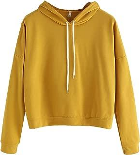 Women's Solid Long Sleeve Slit Back Pullover Casual Loose Hoodie Sweatshirt