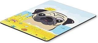 Caroline's Treasures BB2130MP Fawn Pug Summer Beach Mouse Pad, Hot Pad or Trivet, Large, Multicolor