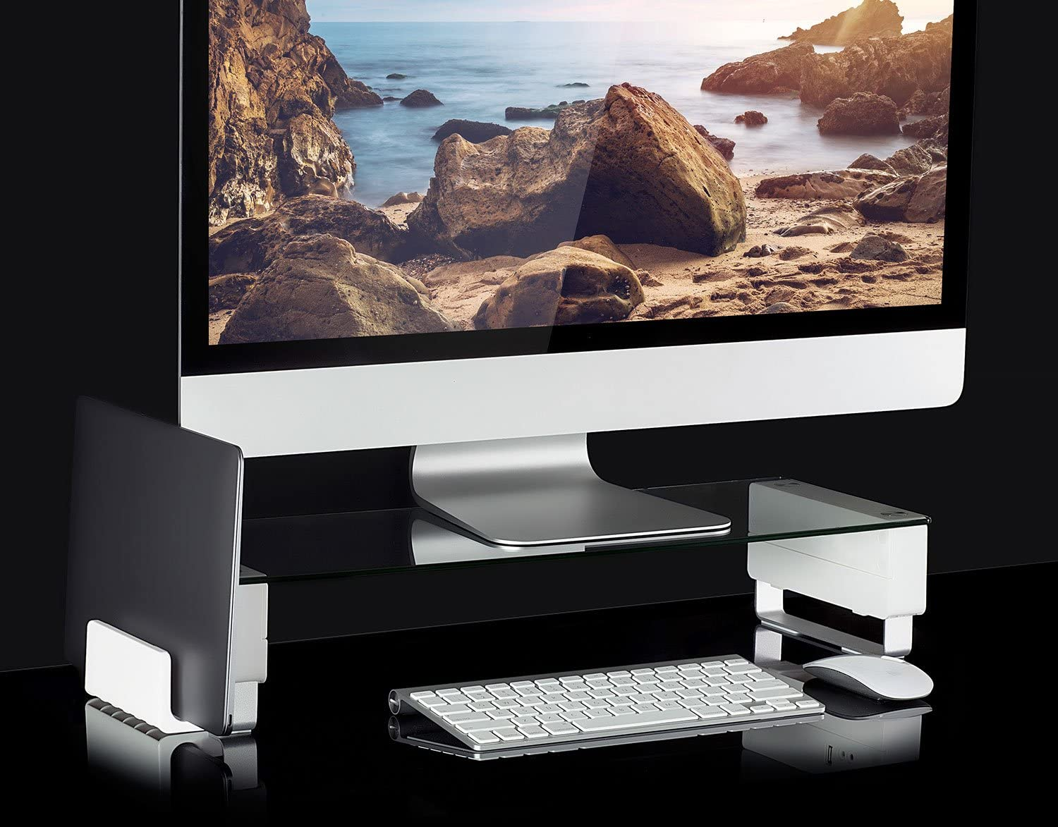 Mount-It! Glass Monitor Stand with Vertical Laptop Holder   Computer Desktop Riser, Clear Tempered Glass Brushed Aluminum Legs, Fits 24, 27, 30, 32 Inch Screens, 66 Lbs Capacity