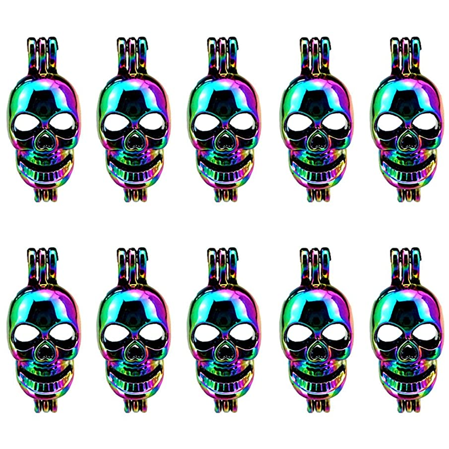 (10 Pack) Rainbow Color Pearl Cage Skeleton Skull Beads Cage Pendant Locket Open Charms