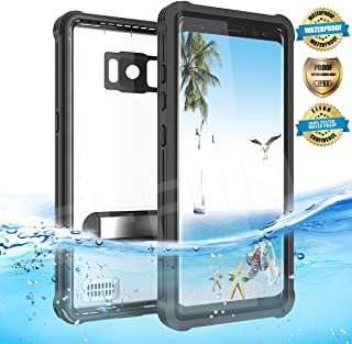 EFFUN Samsung Galaxy S8 Waterproof Case, IP68 Certified Waterproof Cover Dust/Snow/Shock Proof Case with Kick Stand, PH Test Paper and Floating Strap Black/White/Light Blue/Pink/Aqua Blue