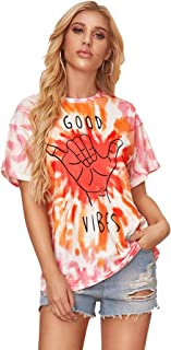 Women Tie Dye Tee Shirts Casual Loose Fit Short Sleeves Round Neck Tops