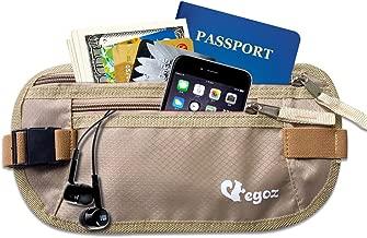 Delux Cashew By Egoz Voyage /équipement argent Ceinture secr/ète sac de taille Sac pochette S/écurise esp/èces passeport Noir 2 Zip Pockets Adjustable Strap Light Slim Comfortable