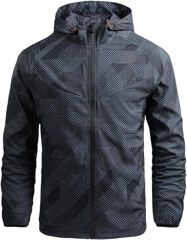 JSPOYOU Men's Mountain Jackets Lightweight Zipper Hoodies Jackets Rain Coat Regular Fit Outdoors Casual Sports Outwear