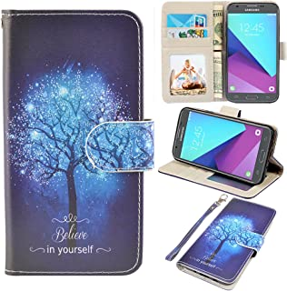 UrSpeedtekLive Samsung Galaxy J3 Emerge Case, J3 2017 Case, J3 Prime Case, Amp Prime 2 Case, J3 Emerge Wallet Case, Premium PU Leather Flip Case Cover w/Card Slots & Kickstand(Galaxy Tree)