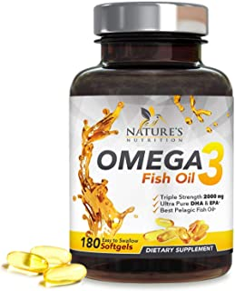 Omega 3 Fish Oil Supplement, 2400mg, High EPA & DHA, Triple Strength Support for Heart, Brain, Joint & Immune Health for Men & Women, Non-GMO & No Gluten, Lemon Flavor - 180 Softgels
