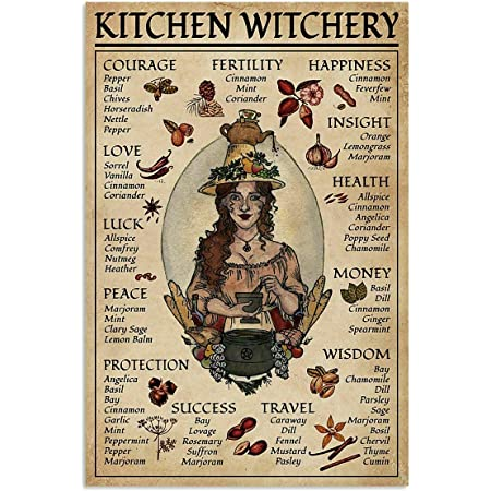 The Kitchen Witchs Guide Poster Modern Nature Wall Decor for Bedroom Bathroom Living Room Stretched and Framed Ready to Hang