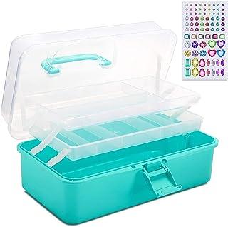 """SGHUO 13 """"ظرف پلاستیکی تاشو جعبه ذخیره سازی قابل حمل چند منظوره با برچسب های الماس برای کارهای هنری DIY دوخت لوازم آرایشی و بهداشتی لوازم التحریر لهستانی ناخن (آبی)"""