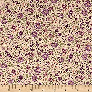 Robert Kaufman Kaufman Sevenberry: Petite Garden Lawn Flowers Purple Fabric by The Yard,