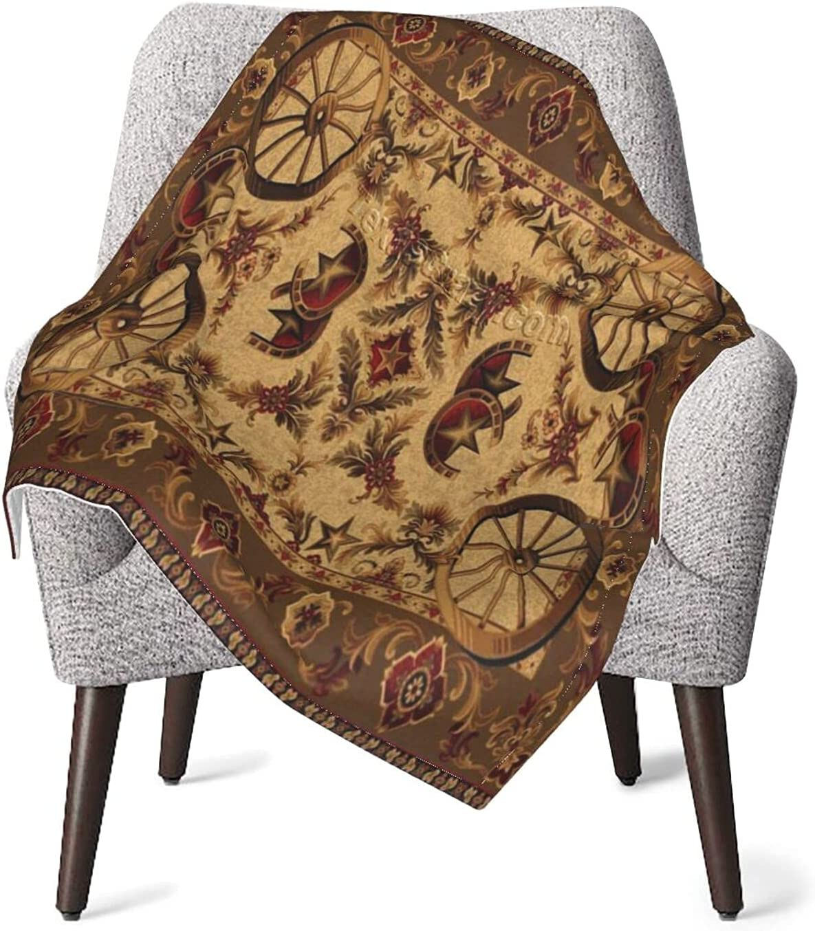 Retro Beige Western Max 79% OFF Wagon Wheel Art Cozy Blankets Air Throw Warm Limited Special Price