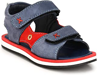 Tuskey Boy's Genuine Leather Antislip Sports Fashion Velcro Floaters and Sandals for Kids
