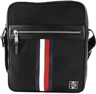 حقيبة كتف من النايلون الاملس للرجال من تومي هيلفجر، لون اسود - موديل AM0AM05819