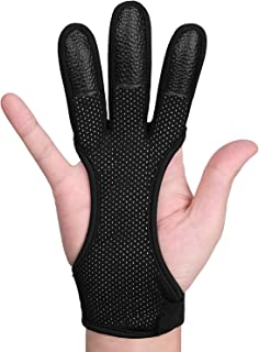 FitsT4 Leather Archery Gloves Three Finger Hand Guard Protective Glove Safety Archery Shooting Gloves