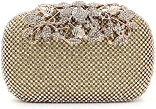 Gold Clutch Purses Classy Flower for Women Luxury Rhinestone Crystal Evening Clutch Bags Vintage Party
