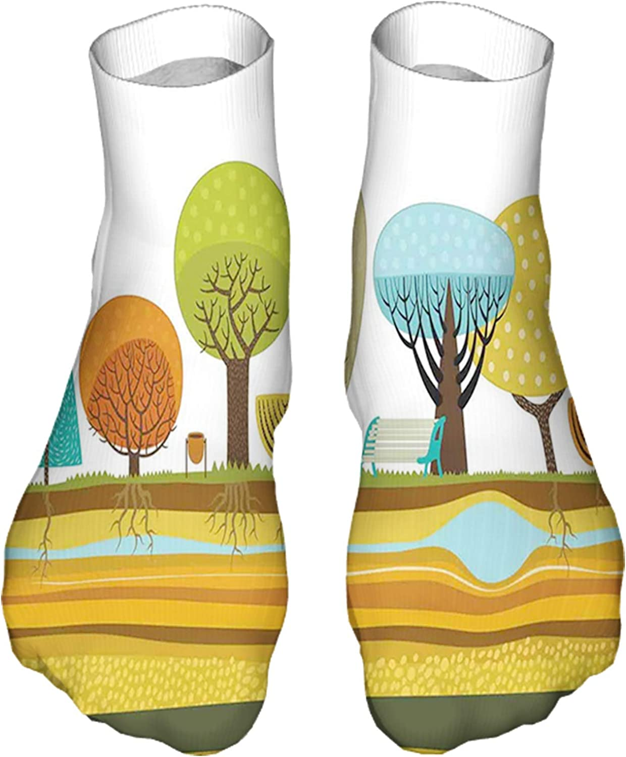 Men's and Women's Fun Socks Printed Cool Novelty Funny Socks,Illustration of Flat Park Elements in The City as Trees