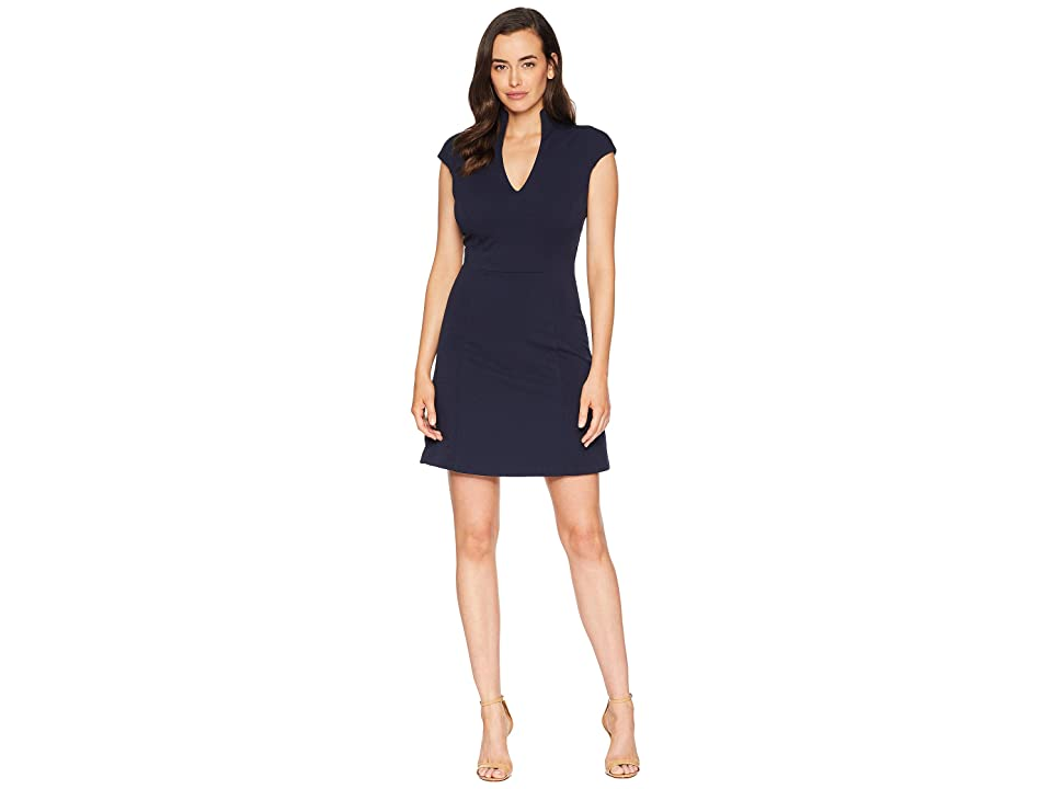 ALEXIA ADMOR Fit and Flare Military Neck Dress (Navy) Women