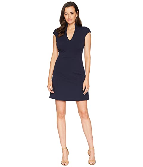 Fit And Flare Military Neck Dress, Navy