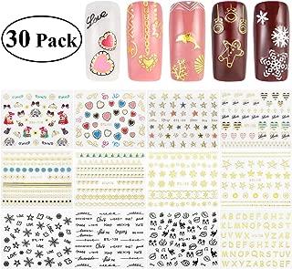 RUIMIO 30 Sheet Nail Stickers Decals 3D Nail Art Stencils Designs