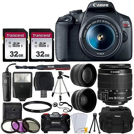 "Canon EOS Rebel T7 Digital SLR Camera Bundle + EF-S 18-55mm f 3.5-5.6 is II Lens + 58mm 2X Professional Telephoto & 58mm Wide Angle Lens + 64GB Memory Card + DC59 Case + 60"" Tripod + Slave Flash"