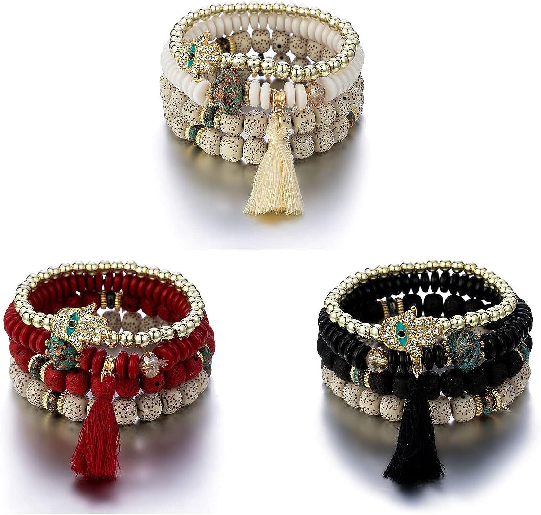 COLORFUL BLING 3 Sets Bohemian Multilayer Stretch Bead Evil Eye Bracelet Hamsa Fatima Palm Hand Stackable Ojo Protection Tassel Bracelet Strand Bangle Boho Women Jewelry