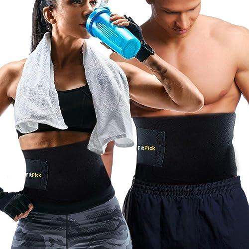 FIT PICK Sweat Shaper Slim Belt Non-Tearable Neoprene Material Tummy Trimmer Waist Trainer Slimming Belt For Men and Women - (Black, Free Size)